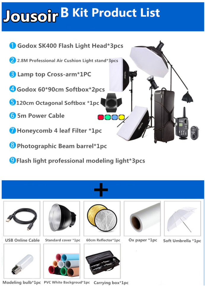 Godox Professional 1200W Photography Flash Studio Strobe kit Three 400w Sk400 Monolight Lighting Kit,Carry Bag for Flash Kit NO0