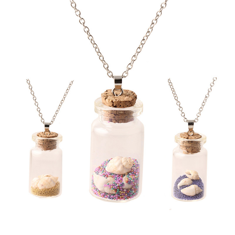 2016 fashion glass ball pendant necklace for women beads conch 2016 fashion glass ball pendant necklace for women beads conch drift bottle necklaces pendants jewelry mozeypictures Choice Image