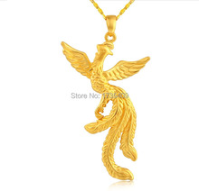 Pure 999 24K Yellow Gold Pendant 3D Phoenix Pendant 4.04g