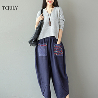 TCJULY 2018 New Chinese Style Woman Wide Leg Pants Plus Size Loose Cotton Linen Corduroy Pants