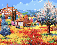Cloud hut cartoon villages pictures paintings digital oil painting by numbers winter home decor wall art painting oil painting