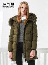 BOSIDENG kadınlar kış ördek aşağı ceket orta-uzun uzun kaban doğal kürk yaka derin kış kalınlaşmak dış giyim su geçirmez B70141006