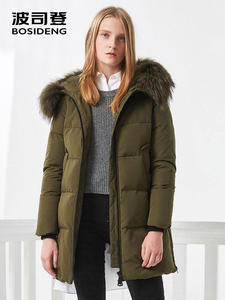 BOSIDENG women winter duck down jacket mid long down coat natural fur collar deep winter thicken outwear waterproof B70141006-in Down Coats from Women's Clothing    1