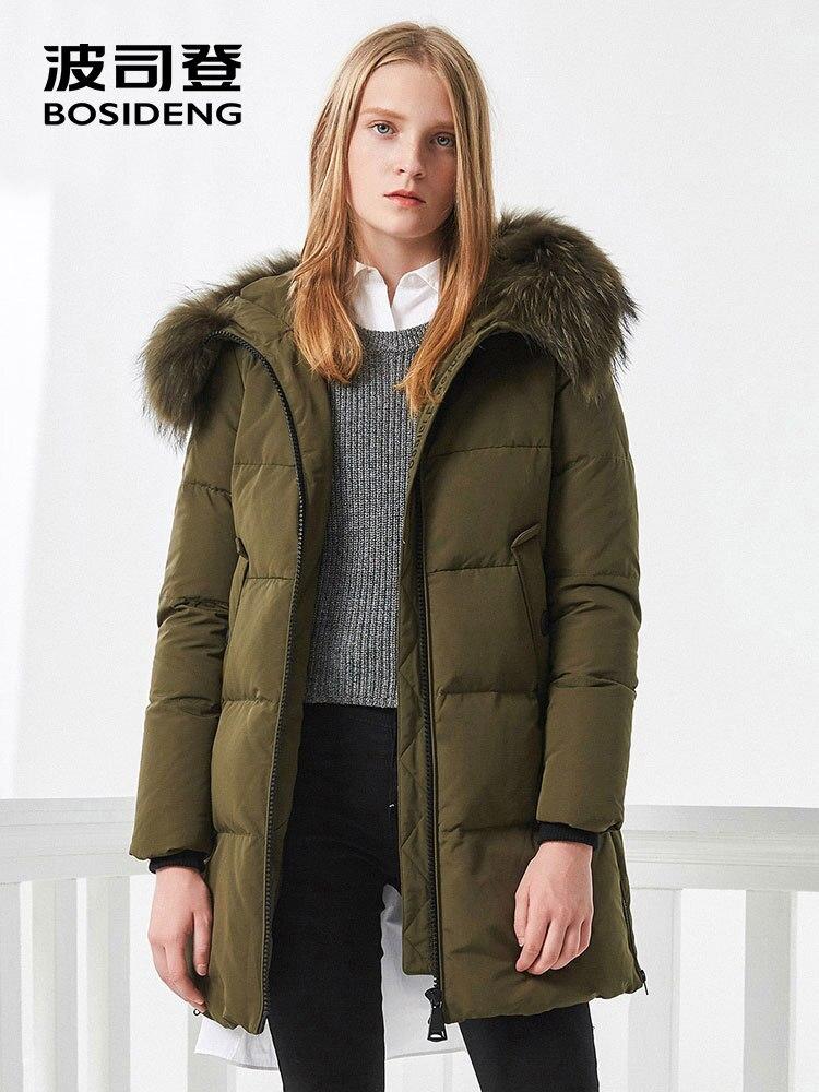 Bosideng 여성 겨울 오리 자켓 중반 롱 다운 코트 천연 모피 칼라 깊은 겨울 thicken outwear 방수 b70141006-에서다운 코트부터 여성 의류 의  그룹 1