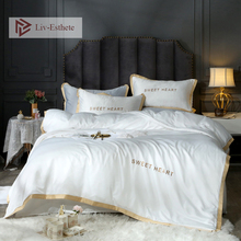Liv-Esthete 100% Silk White Luxury Bedding Set Embroidery Duvet Cover Flat Sheet Bed Linen Double Queen King For Adult