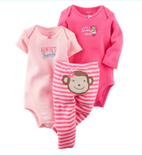 2017 New Baby Girl Baby boy Clothing Set Long Sleeve Bodysuit +Short Sleeve Jumpsuit +Pants Cotton Bebes Bodysuit set