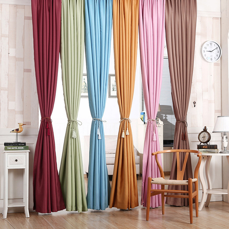 High Window Curtains: High Quality Blackout Thermal Solid Window Curtai For
