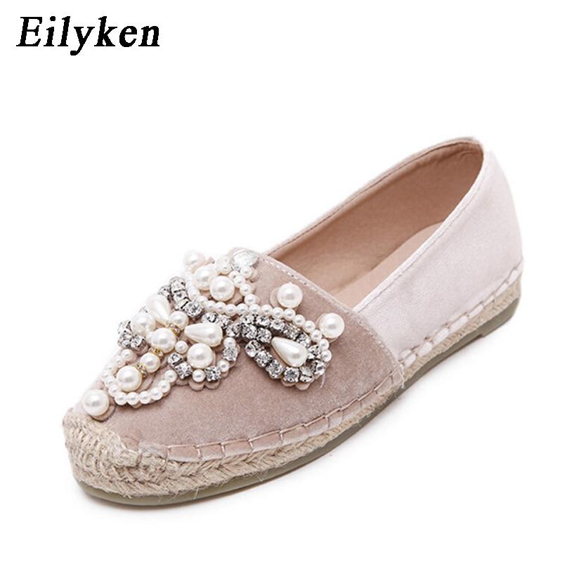 Eilyken 2018 Autumn Women Loafer Round Toe espadrilles Pearl Comfortable Hemp Bottom Women Flats Shoes Slip On Mujer Black