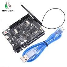 HWAYEH UNO R3 + Wi-Fi ATmega328P + ESP8266 (32 Мб памяти), процессор CH340G для Arduino Uno NodeMCU WeMos ESP8266, новое поступление