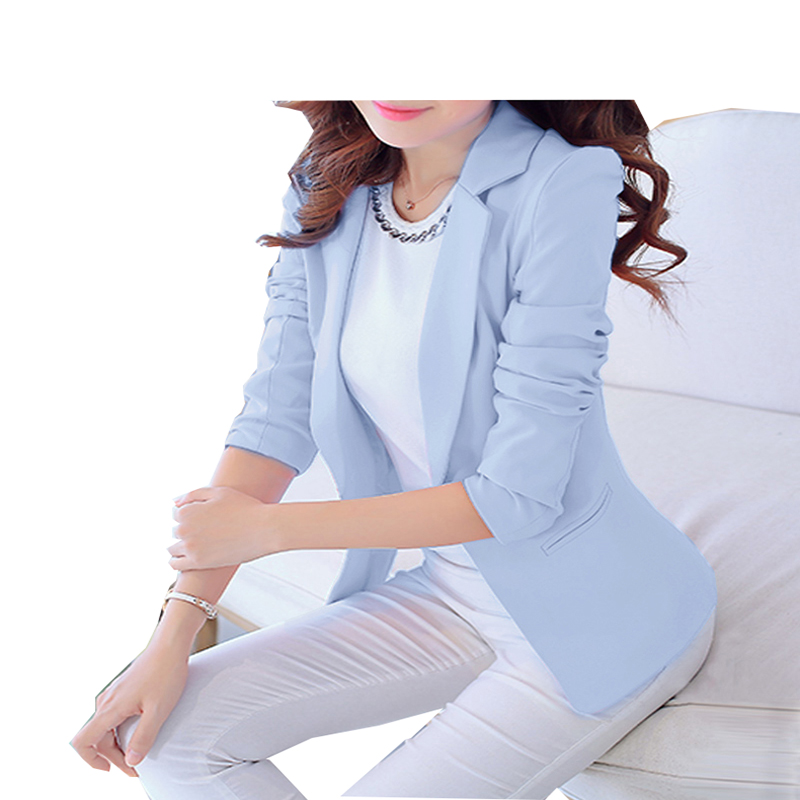 Spring-Summer Women's OL jacket Korean fashionable elegant casual jacket green and so on with long sleeves and turn-down collar