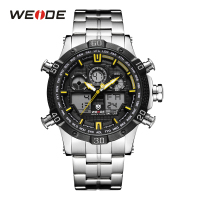 WEIDE Men Digital Watch Sport Stopwatch Date Quartz Back Light Alarm Date Analog Stainless Steel Band