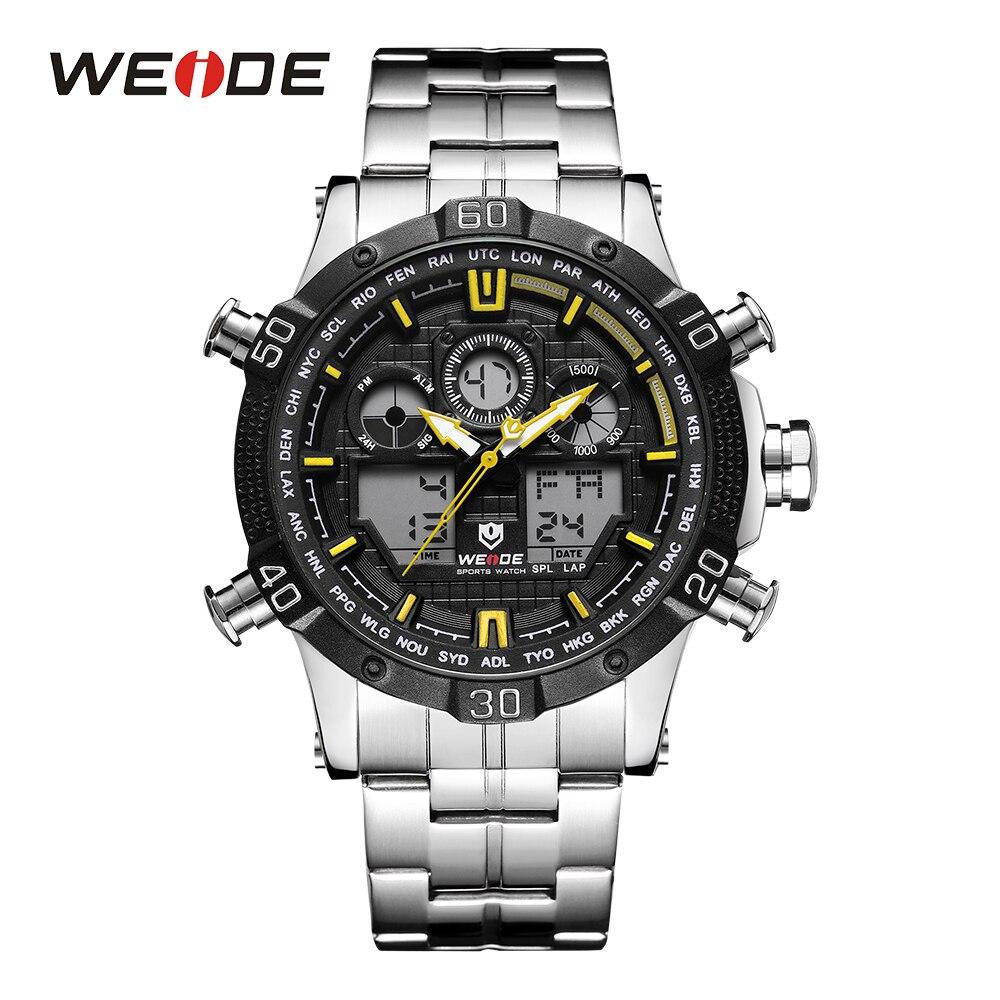 WEIDE для мужчин цифровые часы Спорт Секундомер Дата кварцевые подсветка сигнализации желтый наручные часы для активного отдыха часы Relogio ...