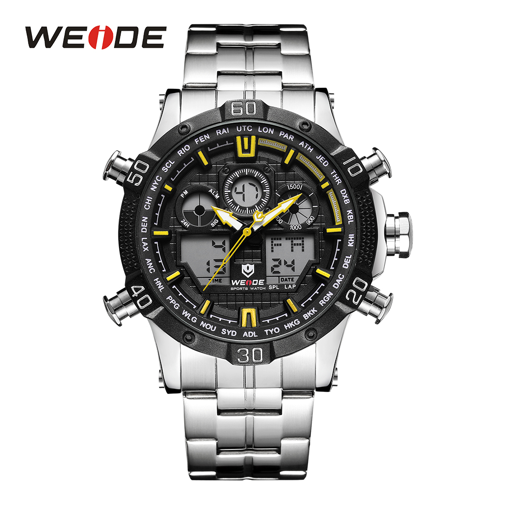 WEIDE Men Digital Watch Sport Stopwatch Date Quartz Back Light Alarm Date Analog Stainless Steel Band Yellow Outdoor Wrist Watch hoska hd030b children quartz digital watch