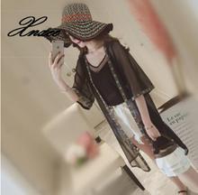 Summer Chiffon Blouse Cardigan Sun Protection Clothing Long for Female Fashion Half Sleeve Women Tops Blouses