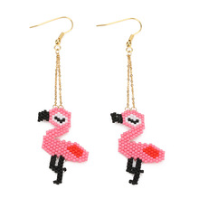 ZWPON 2019 Beadwork Miyuki Delica Beaded Cactus Flamingo Drop Earrings for Women Fashion Handwork Jewelry Wholesale