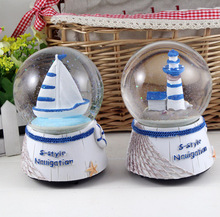 Mediterranean Style Home Decoration Sailing Lighthouse Rotary Crystal Ball Music Box Home Furnishing Creative Ornaments