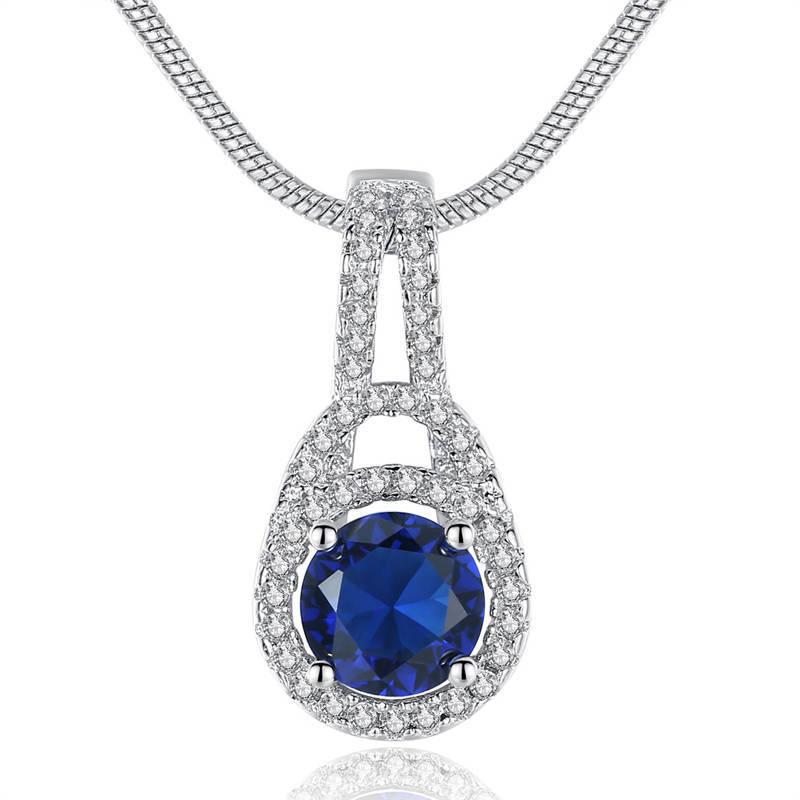 HPXmas jewelry Ladies Fashion new product Necklace pendant silver necklace blue zircon crystalwedding jewelry generous shining