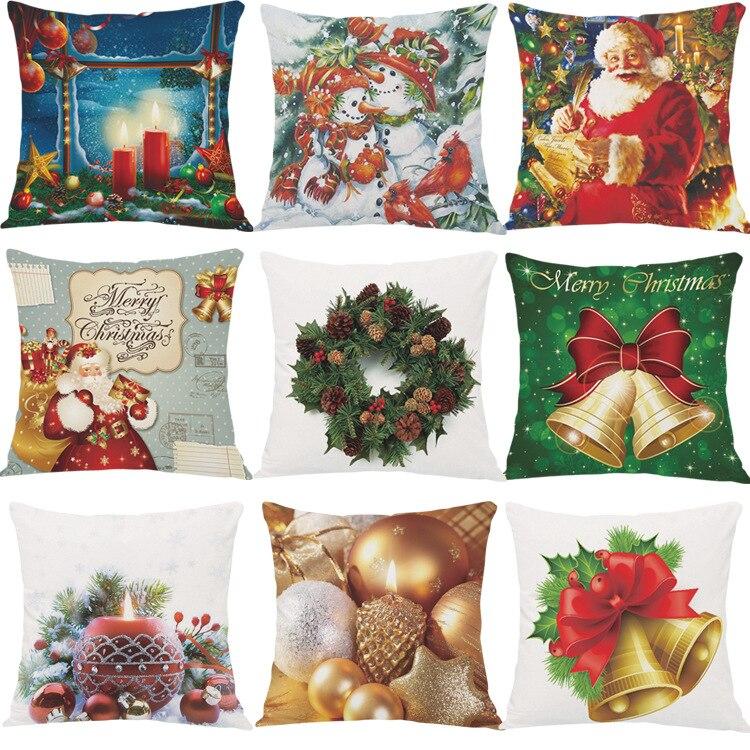 En gros de Haute Qualité flanelle décoratif pillowcaese 18x18 pouce cadeau De Noël Santa Claus canapé coussin couverture capa de almofad
