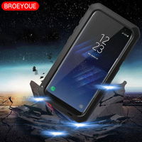 BROEYOUE Case Do Samsung Galaxy S4 S5 S6 S7 S8 Krawędzi Plus Uwaga 3 4 5 8 Aluminium Metal Case Dla iPhone 6 6 S 7 8 Plus X 4 4S 5 5S