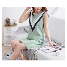 6ceb7fdcfa Summer Cotton nightgowns Knitted sleeveless O-neck Sleepwear Above knee  Sexy Can