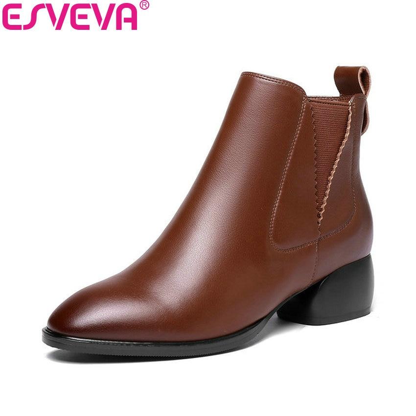 ESVEVA 2019 Women Chelsea Boots Med Heels Zipper Ankle Boots Shoes Square Heels Round Toe Western Style Ladies Boots Size 34-42 nikove 2018 women boots western style ankle boots square high heels pointed toe short plush pu blue ladies boots size 34 42