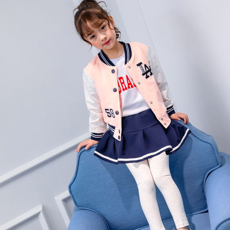 ViGarBear High quality 2018 Girls Embroidered Letters Baseball Uniforms Skirts Fake Three-piece Baby clothing Spring Leisure Set