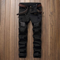 SOSOO Biker Men Jeans Homme Patchwork Hip Hop Hole Slim Fit Distressed Ripped Denim Male Stone