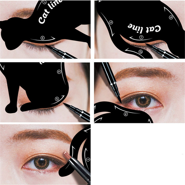 Women's Fashion 2Pcs Cat Line Stencils Pro Eye Makeup Tool Eyeliner Stencils Template Shaper Model Eyebrows Eyeshadow Wholesale 2