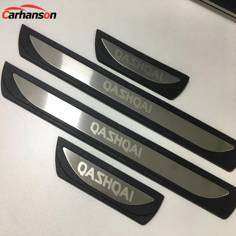 Accessories For Nissan Qashqai J11 2015 2017 2018 Steel Plastic Door Sill Trim Scuff Plate Guard Protector Car Styling Sticker 2x cool led dynamic car door sill scuff plate guard sills protector trim for peugeot 4008 from 2012 2015 car styling