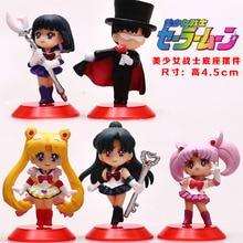5pcs/set anime cartoon toy Sailor Moon Luna Ami Mars Chibi Minako Chiba action figure collectible dolls toy Ornament Decoration