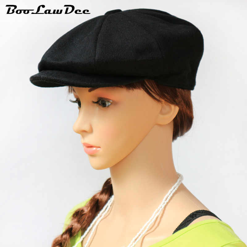 c871820ef784e8 BooLawDee Pure woolen octagonal black newsboy cap for elderly painter and  hunter hat Spring and Autumn