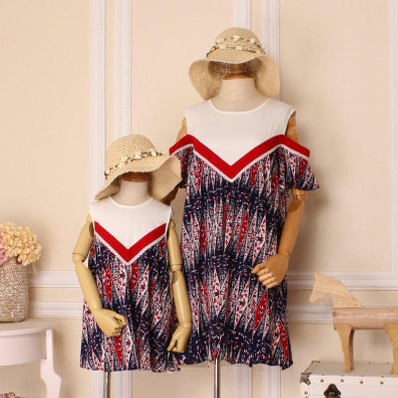 2017 new mom daughter family matching outfits dress clothes Chiffon summer set Women girl mom baby big sister little sister 4XL