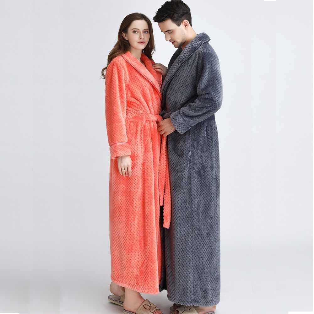 النساء اضافية طويلة زائد حجم لينة كالحرير روب استحمام الشتاء سميكة الدافئة الفانيلا البشكير كيمونو روب للنوم العروس وصيفه الشرف الجلباب