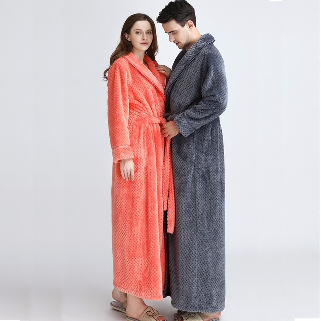 Women Extra Long Plus Size Soft as Silk Bath Robe Winter Thick Warm ...
