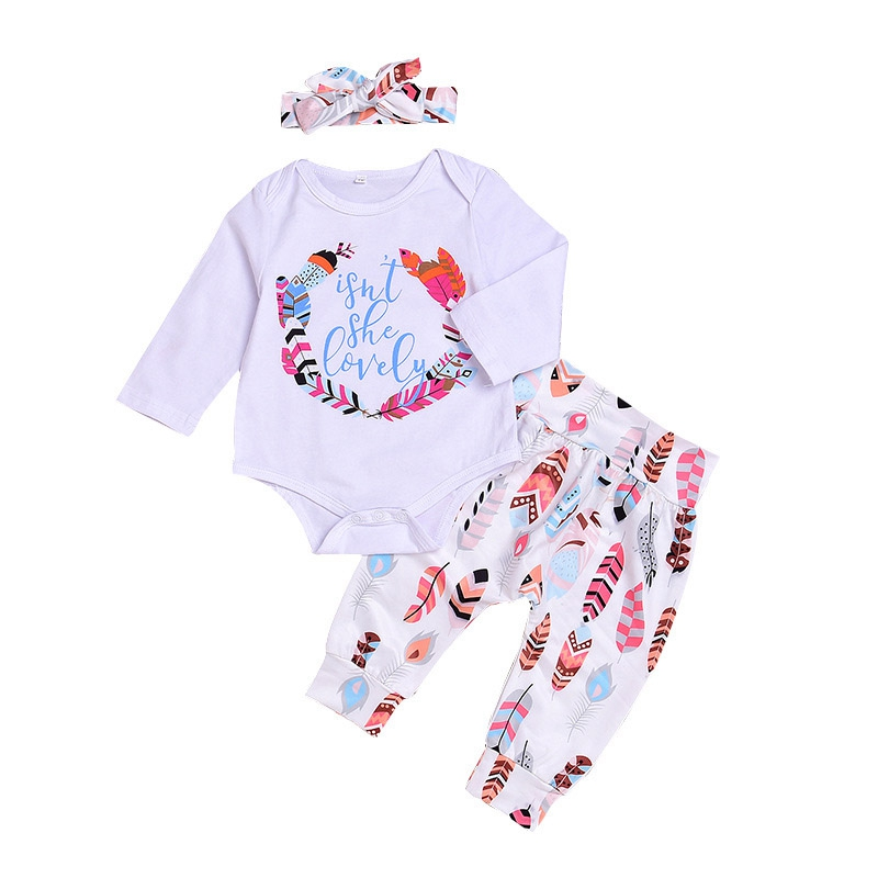 Baby Fashion Girl Clothes Infant Autumn/Spring Girls Cute Set Letter Rompers+Pants+Headband 3Pcs Outfits Roupas Bebes Outfits