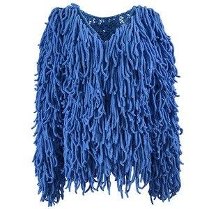 Image 4 - Manteau en fausse fourrure tricoté chaud pour femme, manteau en fausse fourrure, chaud, pull noir doux, manteau femme automne hiver