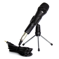 Professional Switch Wired Microphone 3.5mm Plug Tripod Dynamic Mic Stand Clip Mike Clamp Mount For Computer Studio Karaoke Mixer