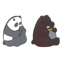 Cartoon Brown Bear Panda Ijsbeer Medaille Broche Metal Enamel Pins & Broches Badge Sieraden Geschenken Zak Jas Accessoires Pin gift(China)