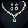 Chapado En Oro Blanco de lujo Elegante Forma Nupcial CZ Collar de Diamantes Pendientes Grandes Conjuntos de Joyería de La Boda Conjuntos Para Las Novias