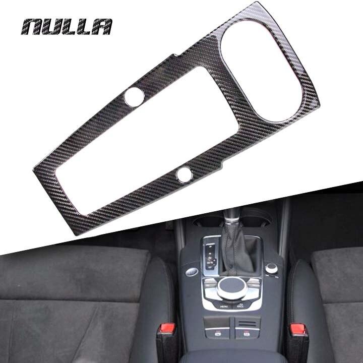 NULLA Carbon Fiber Car Interior Control Gear Shift Frame Multimedia Panel Console 3D sticker for AUDI A3 8V 2014 2015 2016 2017