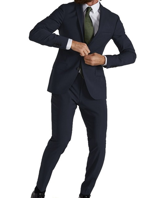 Highly Comfortable Stretchy Suits Navy Blue Silk Wool Blend Custom Made Wedding Suits For Men, Allow More Natural Movement 2019