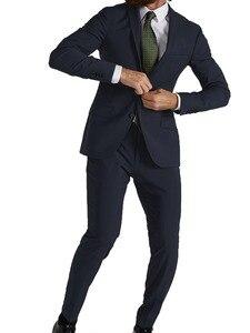 Image 1 - Ternos de casamento feitos sob encomenda da mistura de lã de seda azul marinho dos ternos elásticos altamente confortáveis para homens, permitem mais movimento natural 2019