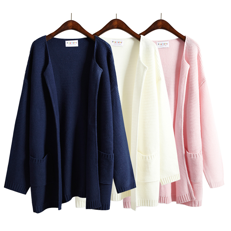 Women'S Harajuku Kawaii Loose Sweater Female Solid Color No Button ...
