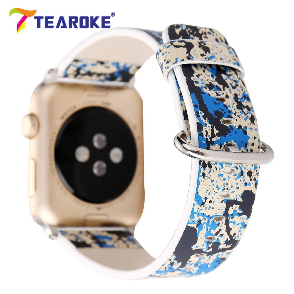 TEAROKE Colorful Graffiti Printing Leather Watchband For Apple Watch 38mm 42mm Women Men Replacement Band Strap for iwatch 1 2 eache 38mm 42mm dark brown replacement watch straps fit for apple watch vegetable tanned leather watch band for women or man