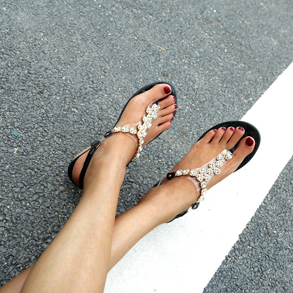Beads Sandals Rhinestone Casual Wedges Comfortable Women's Soft-Bottom Zapatos-De-Mujer