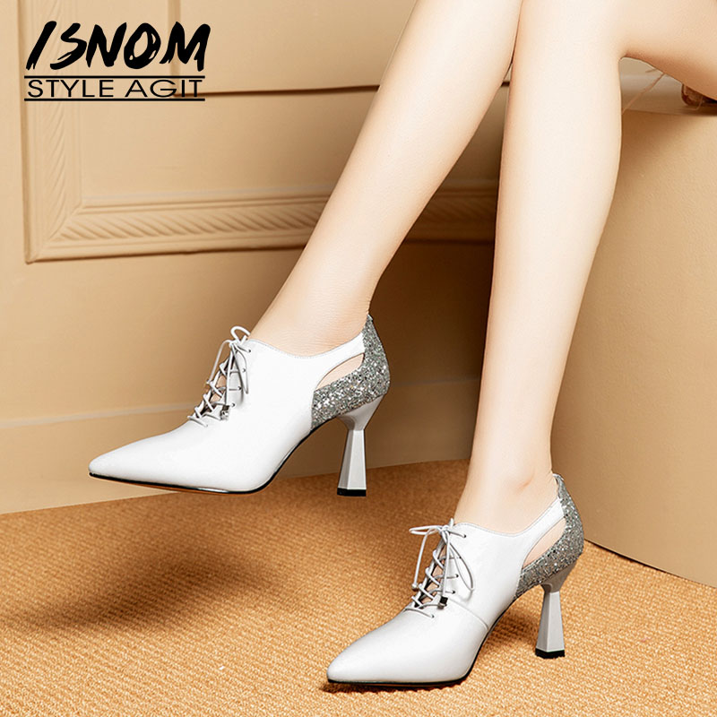 ISNOM Unusual Heels High Pumps Women Pointed Toe Footwear Fashion Cow Leather Shoes Female Office Shoes