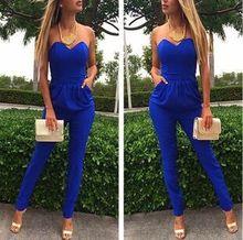 Rompers Womens Jumpsuit Sexy Blue Pockets Slim Pants Bodysuit Sleeveless Jumpsuits XXL Macacao Feminino E Macaquinhos xinmeishu blue xxl