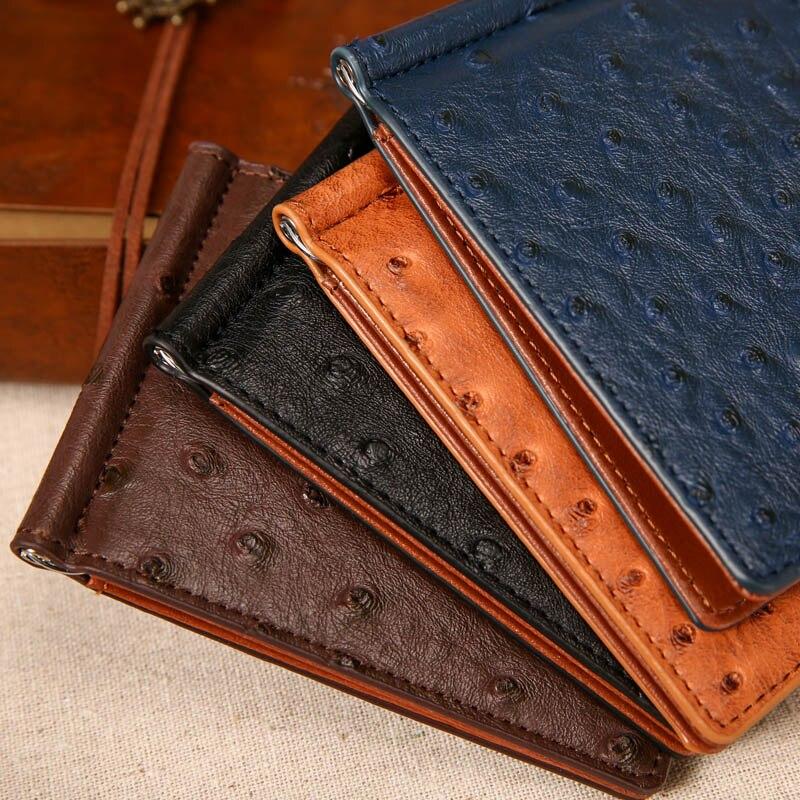 Slim struts mönster läder Mäns pengar klipp plånbok med 4 kort - Plånböcker - Foto 6