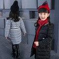 Зимние Мальчики и Девочки Мода Пуховики Мальчик Длинные Очки Пуховик Девушка Полный Теплый Хлопок-ватник 110-150