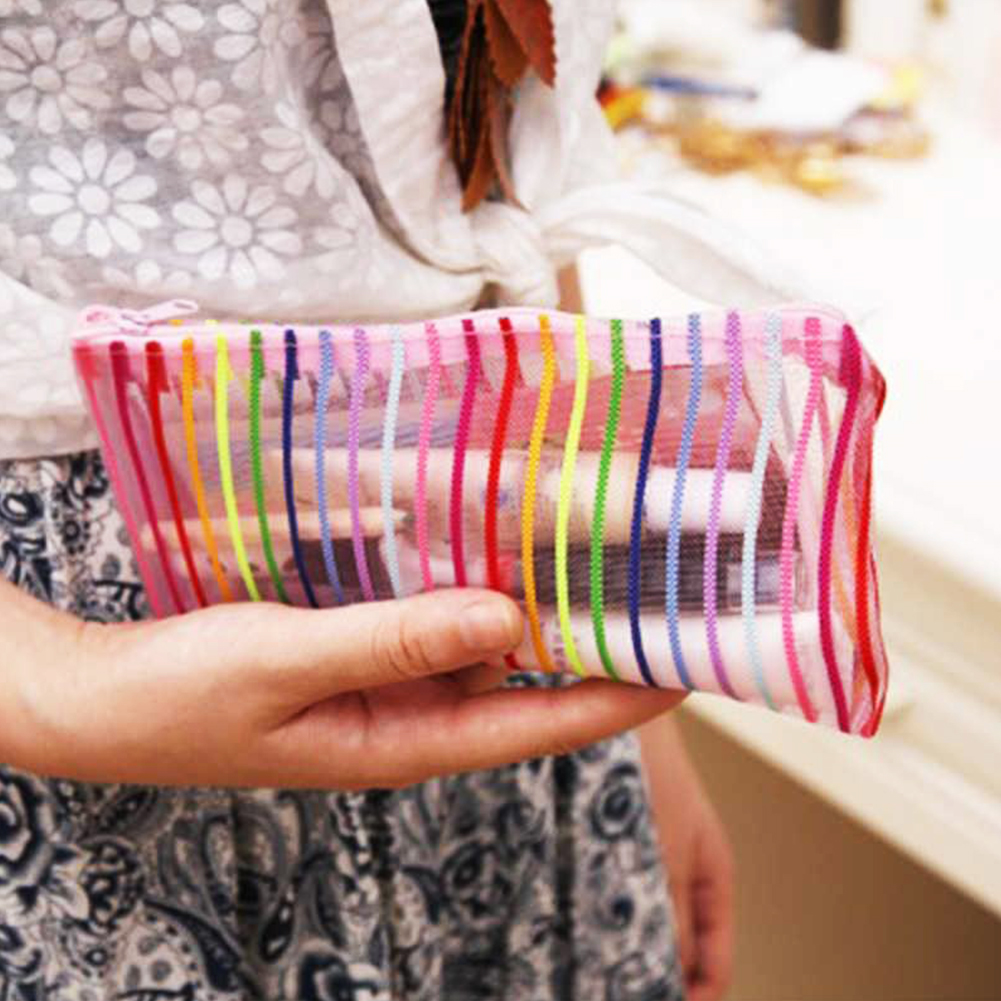 Waterproof Portable Large Capacity Cosmetics Storage Bag Colorized Stripes Pattern Transparent Nylon Makeup Bag